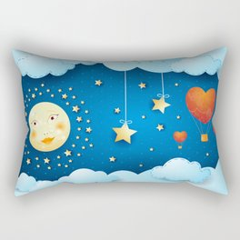 Valentine night with full moon Rectangular Pillow
