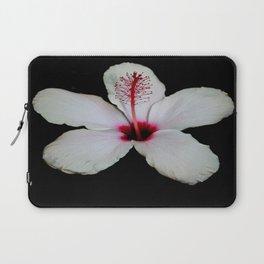 White Hibiscus Isolated on Black Background Laptop Sleeve
