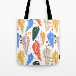 Watercolor Macrame Feathers + Dots in Earthtone Rainbow Tote Bag
