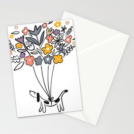 Spring time Sausage Dog Stationery Cards