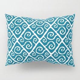Mid Century Modern Diamond Swirl Pattern Peacock Blue Pillow Sham