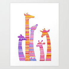 Giraffe Silhouettes in Colorful Tribal Print Art Print