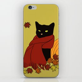 Cascade The Black Cat In Red Scarf With Pumpkin - Fall iPhone Skin