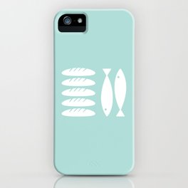 Five loaves and two fishes - mint iPhone Case