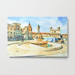 L'Aquila: cathedral square with fountain and field tents Metal Print