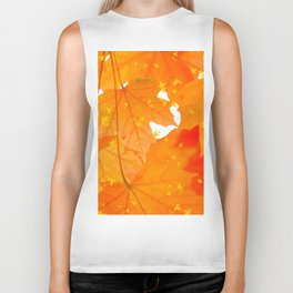 Fall Orange Maple Leaves On A White Background #decor #buyart #society6 Biker Tank