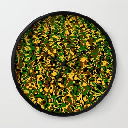 Masking in colors brown green yellow Wall Clock