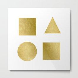 Minimal Shapes Gold Metal Print