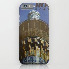 retro Plakat Iran Persia Masjid-I-Shah Isfahan Minaret iPhone Case