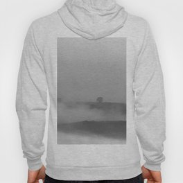 Black and white foggy landscape Hoody