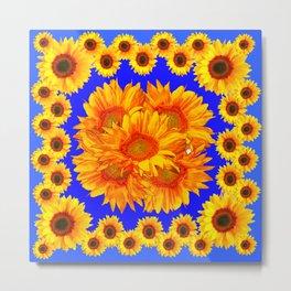 Royal Blue Golden Sunflowers Garden Art Metal Print