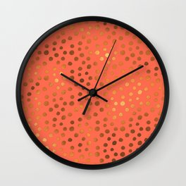 Living Coral Copper Gold Polka Dots Wall Clock