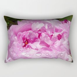 Pink Peony with Rain Drops Rectangular Pillow