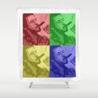 robert farkas Shower Curtains featuring Robert Downey Jr by Mental Activity