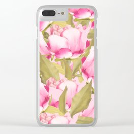 Pink Peonies on a pink background - #Sociey6 #buyart Clear iPhone Case