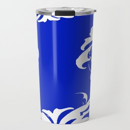 Damask Blue and White Victorian Swirl Damask Pattern Travel Mug