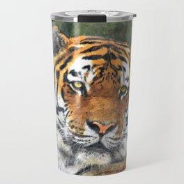 Water color digital illustration of Amur Tiger Travel Mug