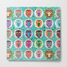 funny colored owls on a turquoise background Metal Print