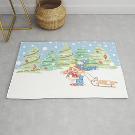 Kids playing in the snow vintage illustration Rug