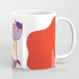 Girl with purple cat Coffee Mug