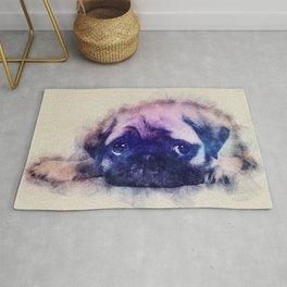 Pug puppy Sketch  Digital Art Rug