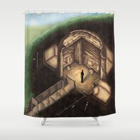 tomb raider Shower Curtains featuring Maeshowe Tomb by Rushelle Kucala Art