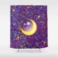 emoji Shower Curtains featuring Emoji Moon by jajoão