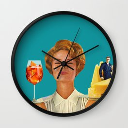 Weekend Plans (Cocktails & Cheese) Wall Clock