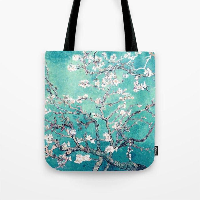 Vincent Van Gogh Almond Blossoms Turquoise Tote Bag