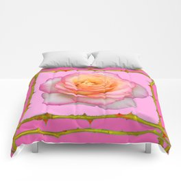 ROSE & RAMBLING THORNY CANES PINK BORDER PATTERNS Comforters