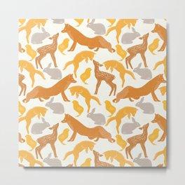 Pastel vintage orange brown spring cute animal pattern Metal Print