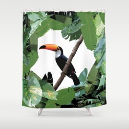 Toucan and leaves Shower Curtain
