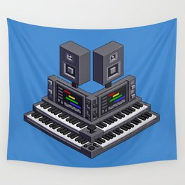 Electronic music altar — isometric pixel art Wall Tapestry