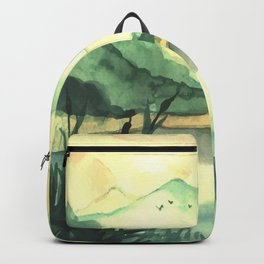 Hand Drawn Watercolor Landscape With River Backpack