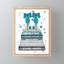 Books, Teal, Shoes, Fashion books, Fashion illustration, Fashion, Amanda Greenwood, watercolor, wall Framed Mini Art Print
