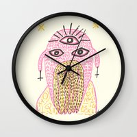 third eye Wall Clocks featuring Third Eye by Nü Köza