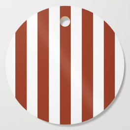 Deep dumpling brown - solid color - white vertical lines pattern Cutting Board
