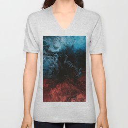 Abstract Blue and Red Paint Mix Unisex V-Neck