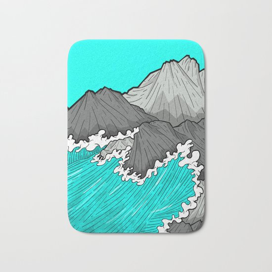 The Rocks And The Sea Bath Mat