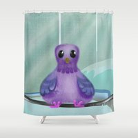 pigeon Shower Curtains featuring City Pigeon by Alannah Brid