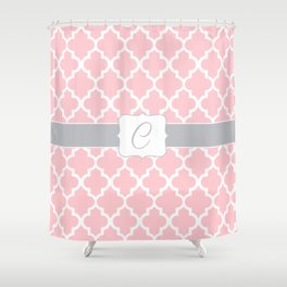 "Light Pink Moroccan Quatrefoil Pattern with ""C"" Monogram Shower Curtain"