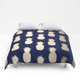Gold Pineapple Pattern Navy Blue Comforters