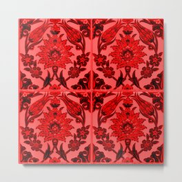 talavera mexican tile in red Metal Print