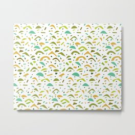 Abstract Green and Orange Pattern Metal Print