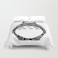 ghibli Duvet Covers featuring Ghibli Zentangle by Riaora Creations