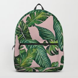 Jungle Leaves, Banana, Monstera II Pink #society6 Backpack