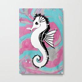 Seahorse Tribal Tattoo Marble Teal Pink Metal Print