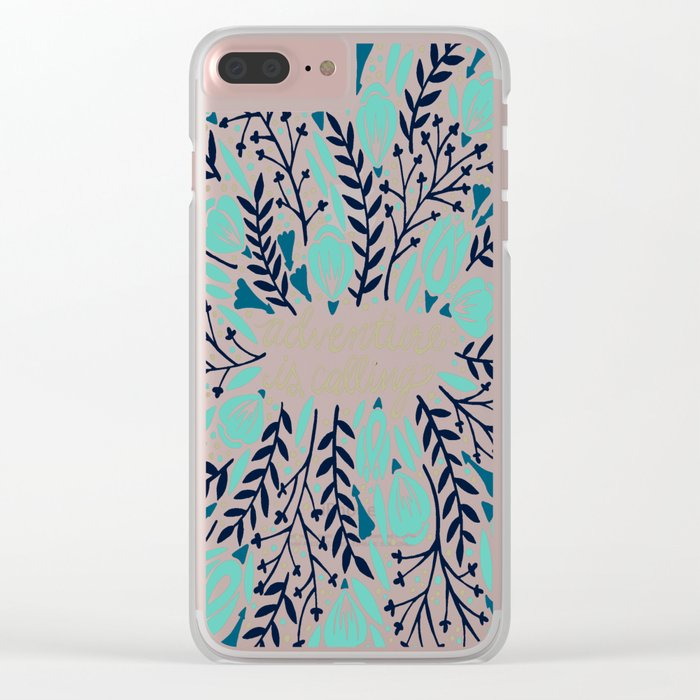 Adventure is Calling – Navy & Mint Palette Clear iPhone Case
