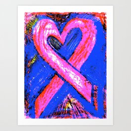 Super-Ribbon!! A Pink Ribbon for Breast Cancer Research by Jeffrey G. Rosenberg Art Print