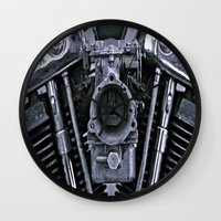 motorcycle Wall Clocks featuring MOTORCYCLE  by ALX RUTECKI